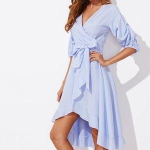 190c224580 Shein Dresses | Nwt Gathered Sleeve Pinstripe Wrap Dress | Poshmark